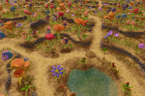 Stylized Bushs And Flowers